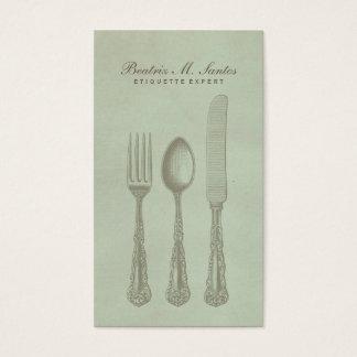 Vintage Silverware Cool Fork Spoon Knife Simple Business Card