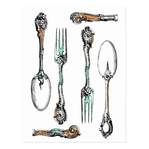 Vintage silverware, dining utensils postcard