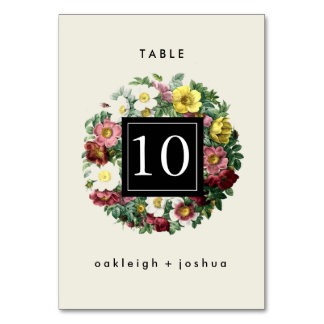 Vintage Simple Floral Wreath Table Number Cards