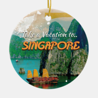 Vintage Singapore Vacation Poster. Ceramic Ornament