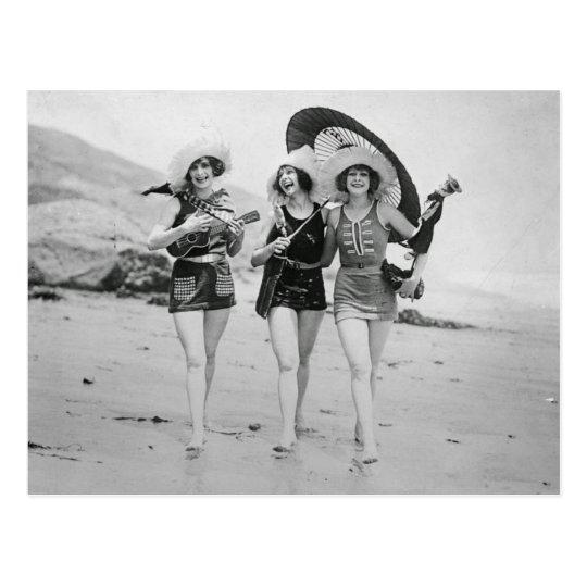 Vintage Singing Beach Besties Postcard