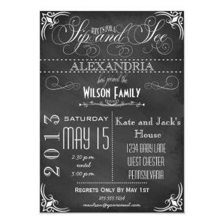 Vintage Sip and See Invitation