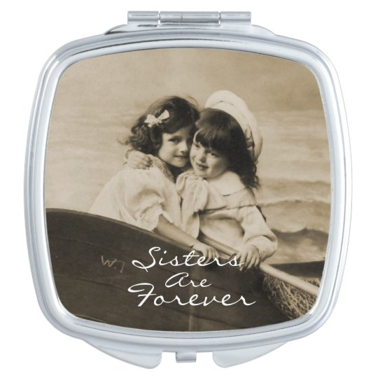 Vintage Sisters Are Forever Square Compact Mirror