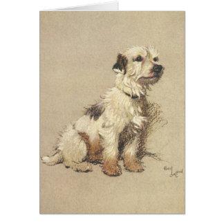 Vintage - Sitting Terrier Dog, Card