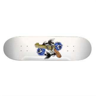 vintage sixshooter with traditional roses skateboard deck
