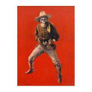 Vintage Skeleton Cowboy Acrylic Wall Art