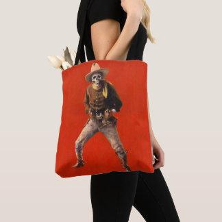 Vintage Skeleton Cowboy All Over Print Tote Bag