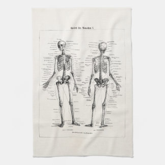 Vintage Skeleton Human Anatomy Bone Bones Skull Hand Towels
