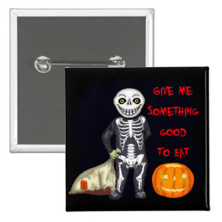 Vintage Skeleton Trick or Treater 2 Inch Square Button