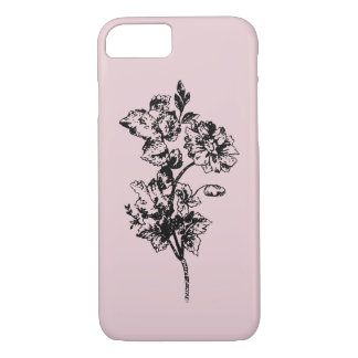 Vintage sketch isolated flowers on pink background iPhone 8/7 case
