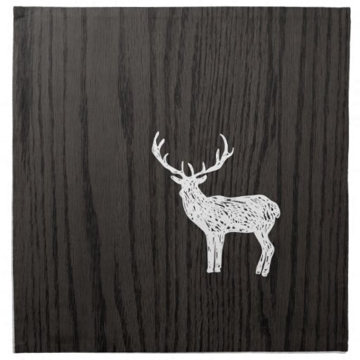 Vintage Sketched White Deer On Woodgrain Napkin