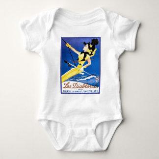 vintage ski 1poster, les diablerets, Switzerland Baby Bodysuit