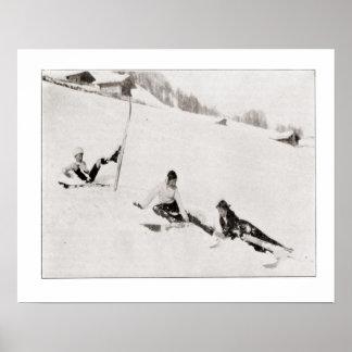 Vintage ski iamge, Fun in the snow Poster