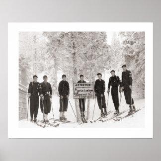 Vintage ski iamge, Group photo Poster