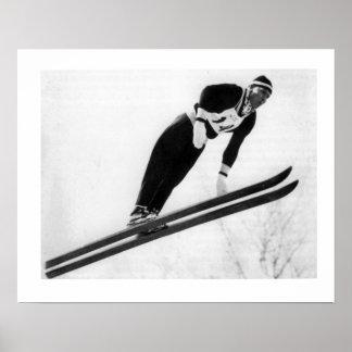 Vintage ski iamge, Keep jumping Poster