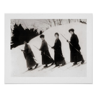 Vintage ski  image, Four Japanese ladies Poster
