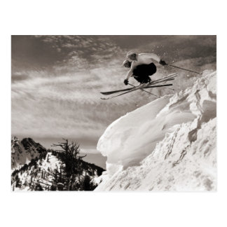 Vintage ski  image,  Jumping together Postcard