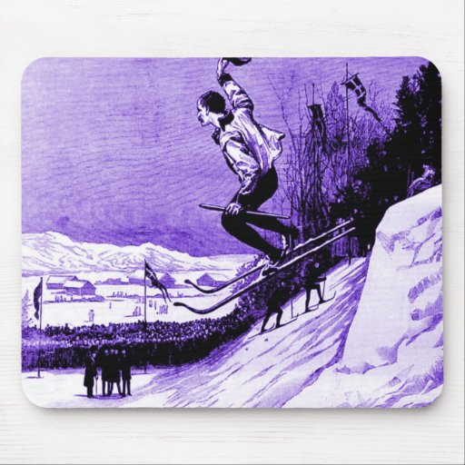 Vintage ski image mouse pad