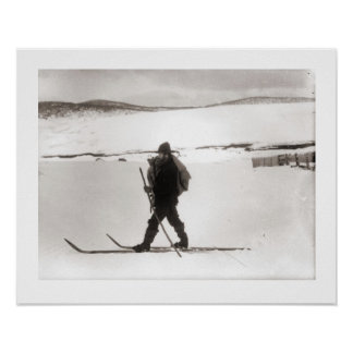 Vintage ski  image, Nordic style Poster