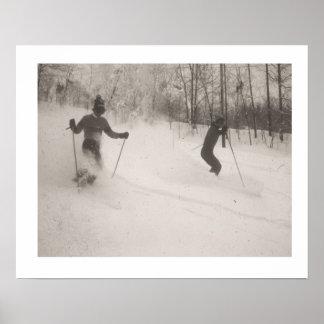 Vintage ski  image, Powder is wonderful Poster