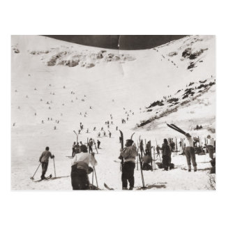 Vintage ski  image, Skiers on the slopes Postcard