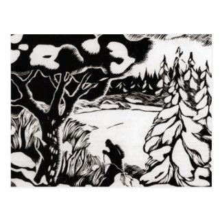 Vintage ski  image,  Snow scene woodcut Postcard