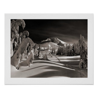 Vintage ski  image, Towards the winter village Poster