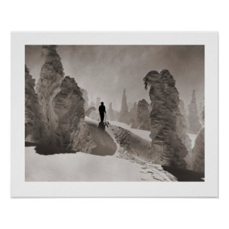 Vintage ski  image, Trail through the forest Poster