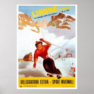 Vintage ski Limone Piemonte Italian travel Poster