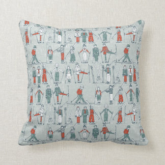 vintage ski linen throw pillow