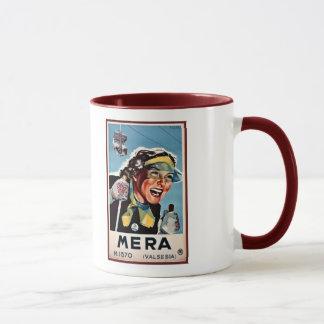 Vintage ski Mera Valsesia Italian travel poster Mug