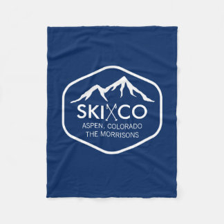 Vintage Ski Mountain, Aspen CO, retro ski poles Fleece Blanket