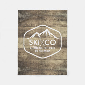 Vintage Ski Mountain Colorado Rustic Wood Fleece Blanket