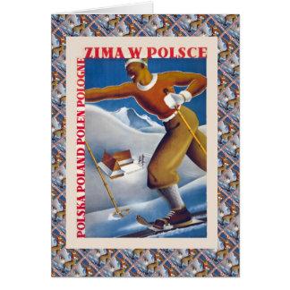 Vintage Ski, Poland, Zima W Polsce Card