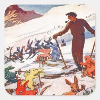Vintage Ski Poster, Arlberg, St Anton Square Sticker