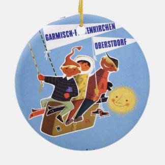 Vintage Ski poster, Bavaria Round Ceramic Ornament