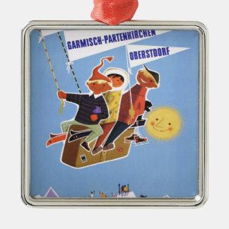 Vintage Ski poster, Bavaria Silver-Colored Square Ornament