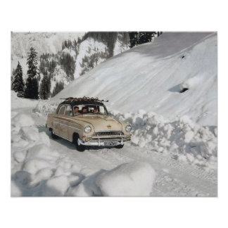 Vintage ski poster, Car to the piste Poster