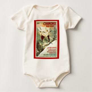 Vintage Ski Poster, Chamonix, Mont Blanc Baby Bodysuit