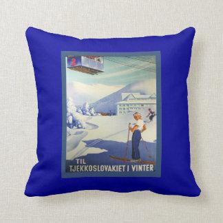Vintage Ski Poster, Czeuchoslavakia winter sports Throw Pillow