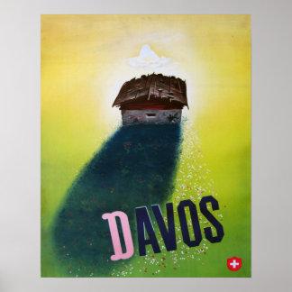 Vintage Ski poster, Davos Poster