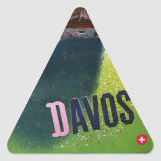 Vintage Ski poster, Davos, Switzerland Triangle Sticker
