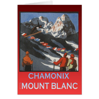 Vintage Ski Poster, France, Chamonix, Mt Blanc Card