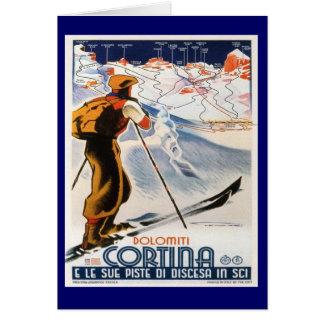 Vintage Ski Poster, Italy, Dolomites Cortina Card
