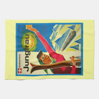 Vintage ski poster, Jungfrau region, Switzerland Kitchen Towel