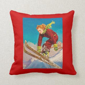 Vintage Ski Poster, Lady downhill skier Throw Pillow