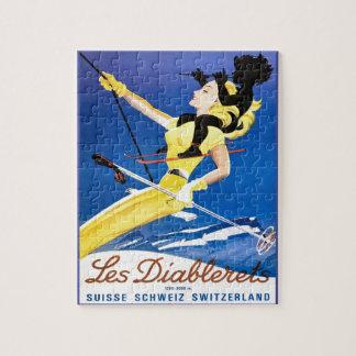 Vintage Ski poster, Les Diablerets, Switzerland Jigsaw Puzzle