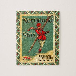 Vintage Ski Poster,  Northland Skis Jigsaw Puzzle