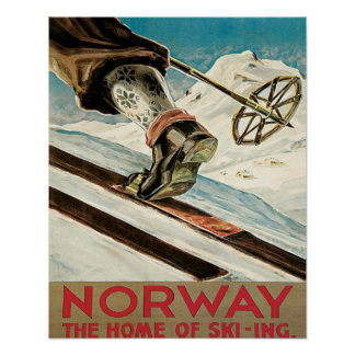 Vintage Ski poster, Norway, the home of skiing Poster
