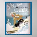 Vintage Ski Poster,  Quebec for winter sports Poster